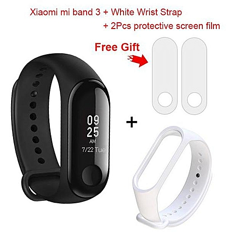 Xiaomi Miband 3 Mi band 3 Smart Watch Bracelet Wristband Watch with  Replacement Strap + 2 Free Screen Protectors (White) SPEEDmall