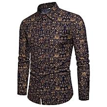 Men's Shirt Stylish Slim Fit Button Down Long Sleeve Floral Shirt-CS43