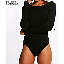 ZANZEA Rompers Womens Jumpsuit Autumn Bodysuit Sexy Casual Deep V-Neck Long Sleeve Solid Playsuits Gold Chain Lace Up Design Overalls (Black)