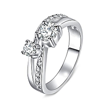 Rings For Women Valentine Present Fashion CZ Crystal Silver-Color Cubic Zirconia Promise Jewelry Size 7#