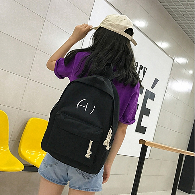 861b686126c6 ... koaisd Unisex Canvas Letter Backpack Outdoor Travel Backpack Student Bag