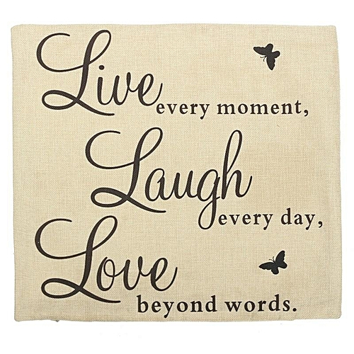 Buy Generic Live Laugh Love Quotes Cushion Cover Home Decor Cotton