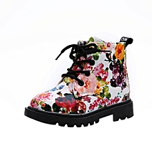 Girls Fashion Floral Kids Shoes Baby Martin Boots Casual Children Boots WH/21-White