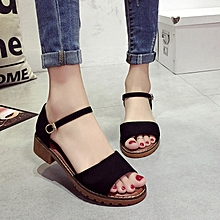 Size 35-40 Low Heel,Buckle Fish Mouth Sandals