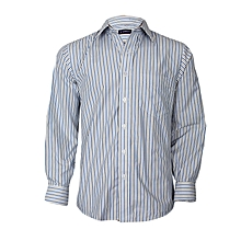 White With Blue & Grey Striped Long Sleeved Shirt