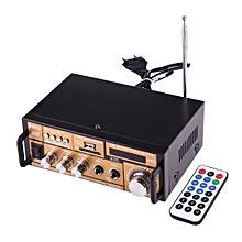 2CH HiFi Stereo Audio Amplifier with Remote Controller, LED Display, USB / SD / MMC Card / MP3 / AUX / FM Radio, AC 220V / DC 12V(Black)