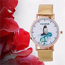 Lady  Leather Wrist Watch Fulaida  Women Creative Pattern Quartz Watch Leather Strap Belt Table Watch GD-Gold