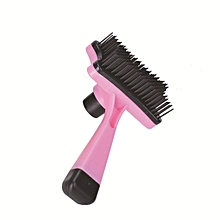 Self Cleaning Pet Hair Removal Grooming Brush Massage Comb Quick Clean Tool Pink