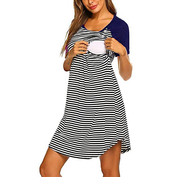 410b21b2a85 Women's Maternity Short Sleeve Striped Nursing Breastfeeding Sleepwear Dress
