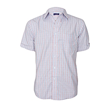 White, Blue & Red Checked Short Sleeved Shirt