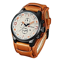 Watches, 8225 Men's Fashion Sport Quartz Watch Luxury Quartz Leather Strap Clock - Brown