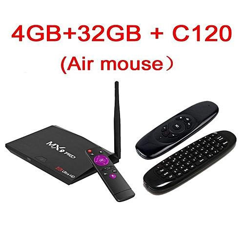 MX9 Pro 4GB RAM 32GB ROM Android 7 1 TV Box RK3328 Quad Core 2 4G/5G WiFi  Bt 4 1 kodi H 265 VP9 HDR 3D UHD 4K Media Player plug (Gold) YCMI-A