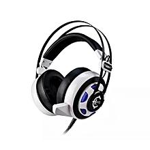 Headphone Gaming, GS911 gaming headband headphone internet bass headset with LED light shock(White)