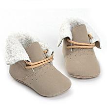 Toddler Baby Boy Girl Tie Shoelaces Boots Soft Sole Boots Prewalker Warm Shoes- Khaki
