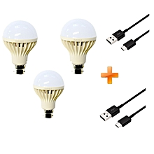 LED Bulb Energy Saving Bulb 3 pcs Bundles - White- 5W, Get Two Free Android Cables