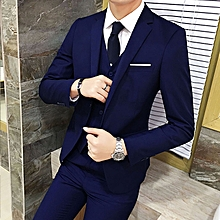 Men Three-piece Professional Suit Man Groom Wedding Business Set Leisure Jacket Waist Coat Work Trousers Jacket+waistcoat+trousers (China size)(China size)