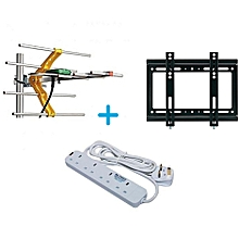 "GOtv Digital Aerial + FREE 14""-42"" TV Wall Mount Bracket + FREE 4-way Heavy Duty Power Extension"