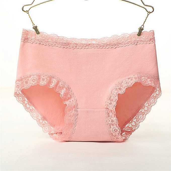 81dd89d1f30 One-piece cotton underwear ladies mid-rise lace side girls panties Large  size sexy
