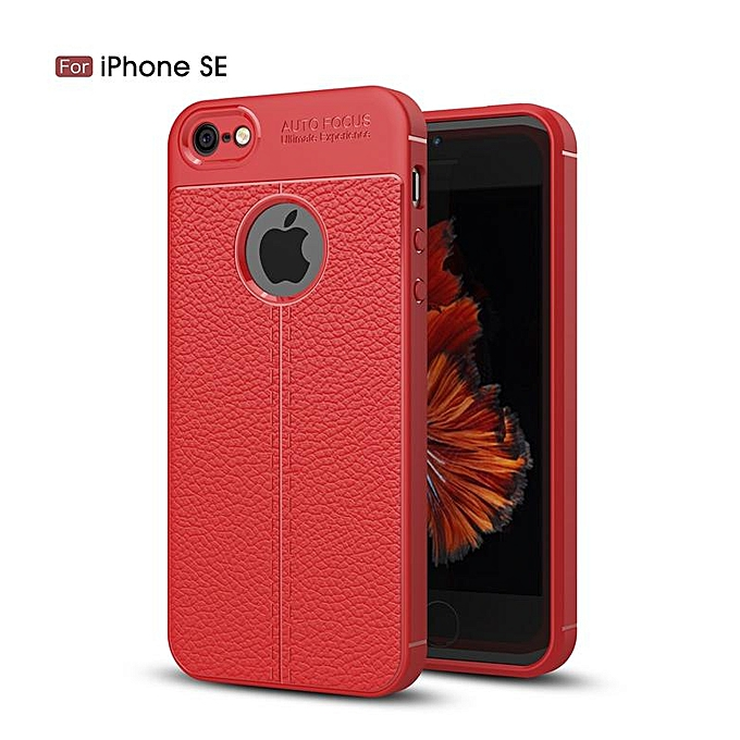 pretty nice 35b4b eac4e For IPhone 5s / 5 / SE Case Luxury Soft Silicon Litchi Striae Leather Case  For IPhone SE Case Coque Shock Proof Back Cover (Red)