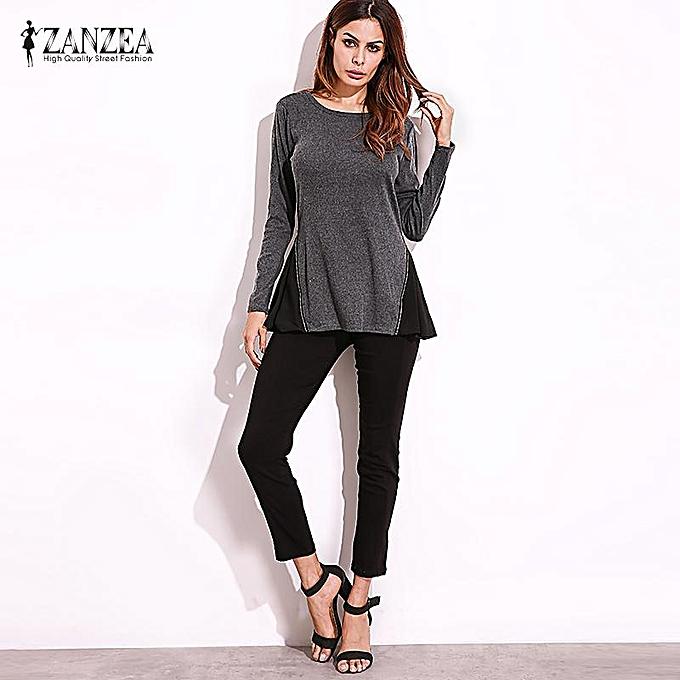 614b4bb2130 ZANZEA Autumn Winter Women Long Sleeve Tops Pleated Chiffon Tunic Baggy Tee  Shirt Casual Blouses Plus