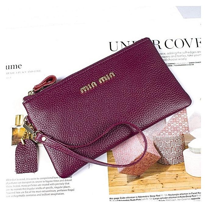 Plum purple Leather wallet ladies long clutch bag new wave Korean fashion  temperament leather a81f6c9b6