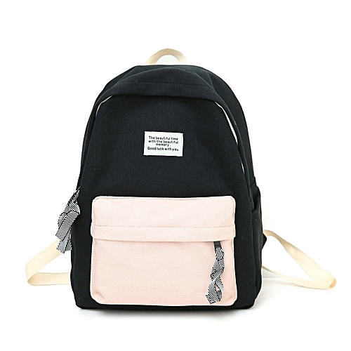 d66ef8054e03 Generic Fashion Canvas Girl Backpack School Bag with Double Zipper (Black)
