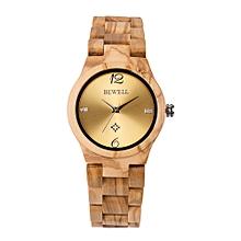 ZS-W153A Women Wood Watch Round Quartz Movement Vintage Casual Analog Wrist Watch