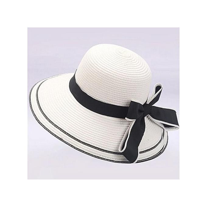 Zetenis Floppy Foldable Ladies Women Bow Straw Beach Sun Summer Hat Wide  Brim -White e2de0450448f