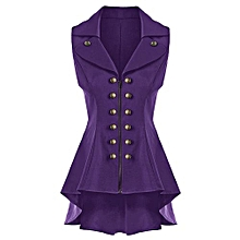 Women Double Breast Lapel High Low Dressy Waistcoat - Purple