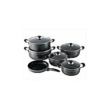 New Non-Stick Cooking Pots - 11 Pieces - Black