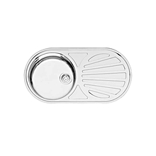 Galicia Round Single Bowl &Drainer  - 855mm x 445mm x 160mm - Silver