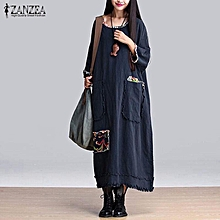 ZANZEA Hot Sale Women Dress Vintage Floral Patchwork O Neck 3/4 Sleeve Cotton Vestidos Casual Maxi Long Dresses Plus Size(Navy)