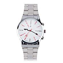 BARIHO Unisex Unique Dial Stainless Steel Band Quartz Wrist Watch Gift White