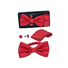 Men's Bow Tie, Cufflinks & Pocket Square Set - Red