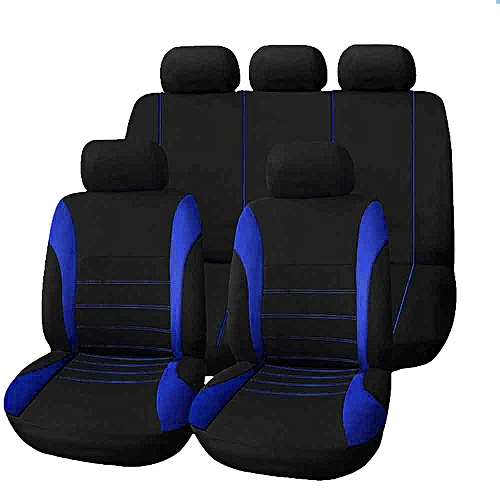 T21620 Universal 9 Set Car Seat Covers Mesh Sponge Interior Accessories Full Cover Blue