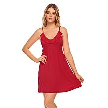 Women Spaghetti Strap Sleeveless Solid Ruffle Mini Nighties Sleepwear Dress ( Red )