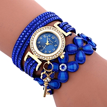 Technologg Watch  Fashion Chimes Diamond Leather Bracelet Lady Womans Wrist Watch-Blue
