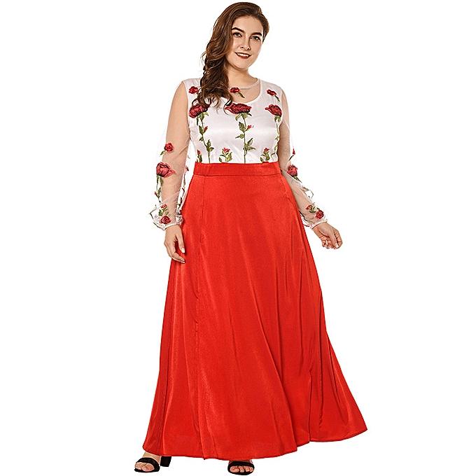 f6adf9ddbc3 Fashion New Sexy Women Plus Size Maxi Dress Floral Embroidery Sheer Mesh  Splice Long Sleeve Slim Elegant Long Dress Red Black