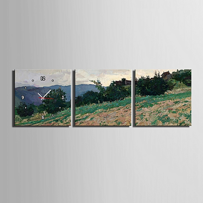 Buy Generic E - HOME Decorative Mural Wall Clock Framed Hillside ...