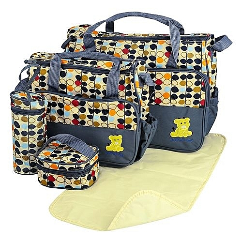 Elegant new design 5 in 1 Baby Diaper Bag Nappy Changing Pad waterproof Travel Mummy Bag.