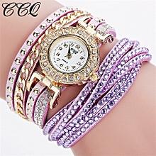 guoaivo CCQ Brand Vintage Leather Bracelet Watch Women Wristwatch Quartz  -Purple