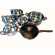 12PCS Cookware Set -Stainless Steel With Glass Lid