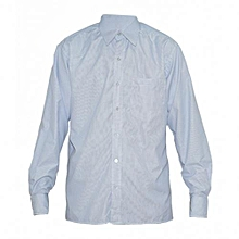 Blue Checked Long Sleeved Mens Shirts