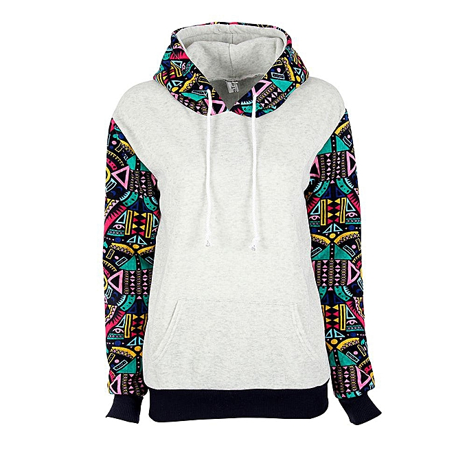 0eef03edcfa1 Xingbiaocao Womens Geometry Printing Hoodie Sweatshirt Hooded Pullover Tops  Shirts Blouse -Gray
