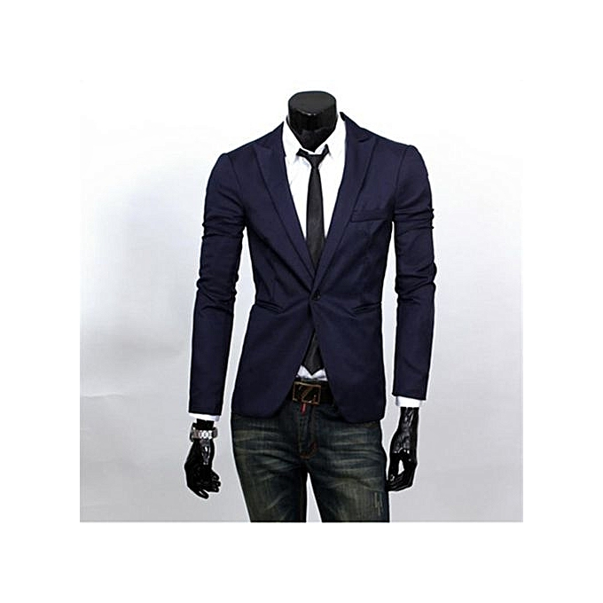 1fce879e2 Navy Blue Men Blazer New Arrival Single Button Trendy Mens Blazers Slim Fit  Linen Suits Korean Fashion Blazer Jacket Cheap (China Size)