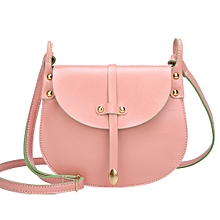 Africanmall store Fashion Women Rivets Leather Hit color Crossbody Bag Shoulder Bag Hand Bag-Pink