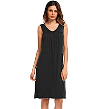 Womens Sleeveless Pajamas Solid V Neck Stretchy Ruched Tranquil Dreams  Nightgown Sleepwear Dress ( Black )