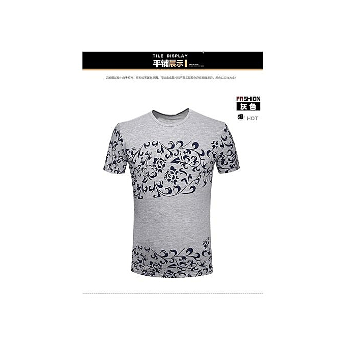 d7b244365214b New Men s Leisure T-shirt Short Sleeved T-shirts Round Neck National Style  Blue