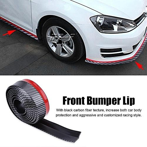 Front Bumper Protector 2 5 Meter Carbon Fiber Car Front Bumper Lip  Protector Rubber Spoiler Body Trim Universal