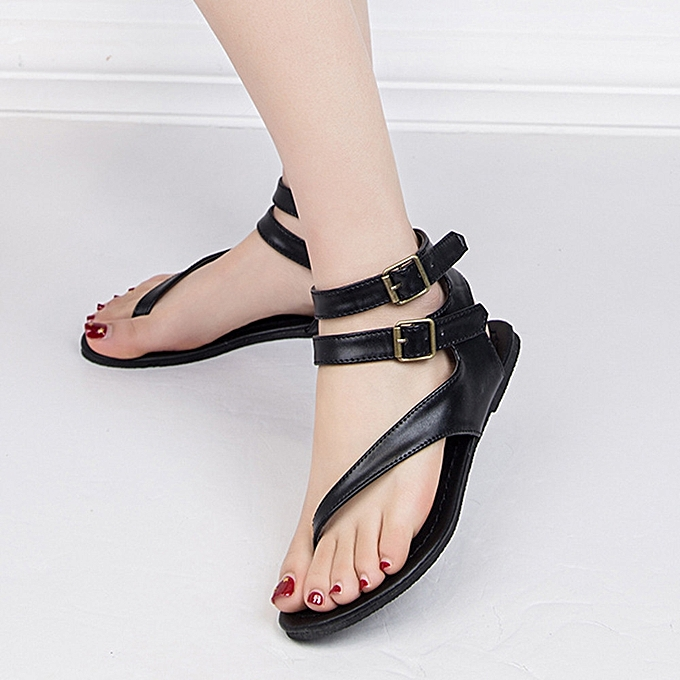 575d5101ff7dd ... Women Summer Strappy Gladiator Low Flat Heel Flip Flops Beach Sandals  Shoes ...